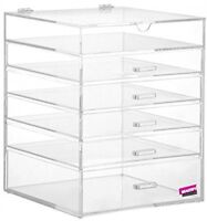 Large Makeup Cosmetic Organizer Clear Cube Acrylic Box 5 Drawers Jewelry Studio