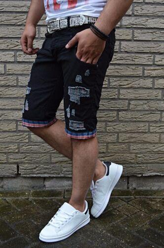 Doubles Poket Jeans Short Stone Washed Destroyed karriert Look Denim Kurze Hose