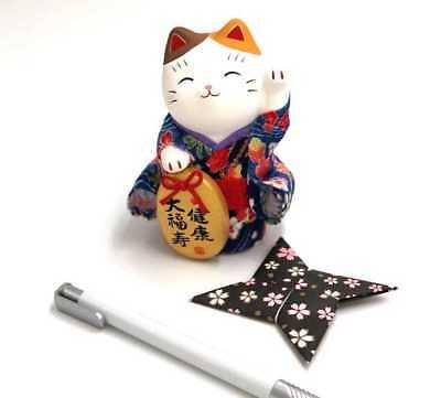 Lucky Cat Japanese Porcelain Maneki neko Health luck blue