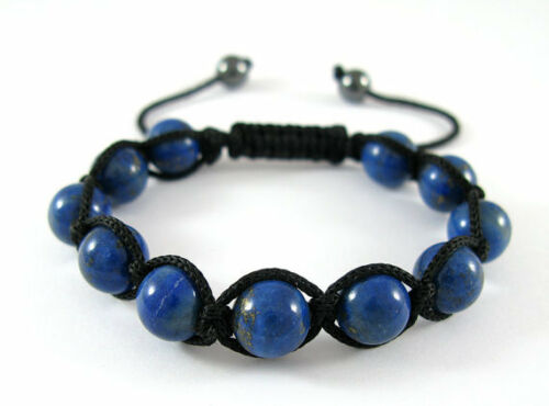MEN'S LAPIS LAZULI Gemstones Beaded Shamballa Yoga Adjustable Jewelry Bracelet