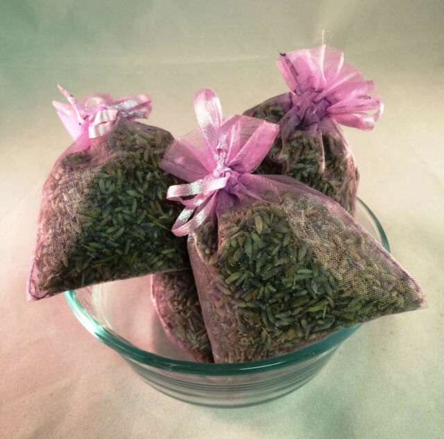 Set of 4 Lavender Sachets made with Red Organza Bags