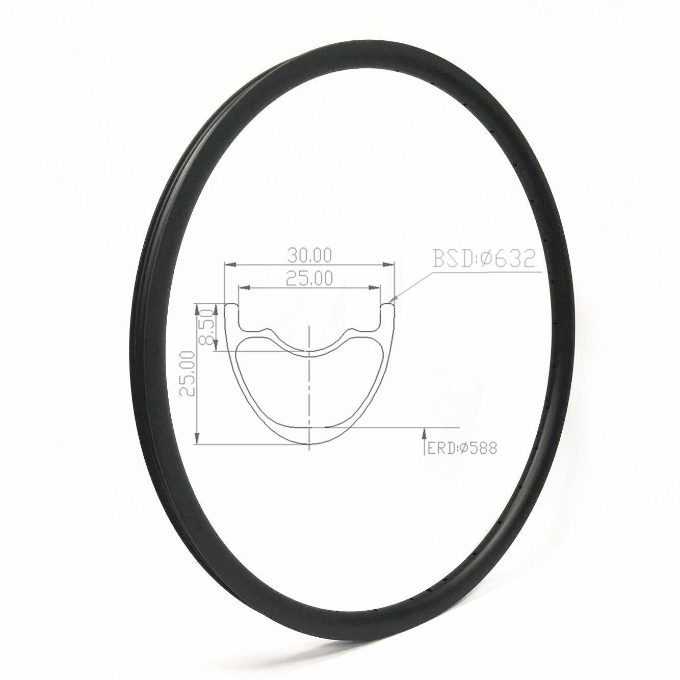 29 pulgadas Llantas de montaña de carbono para bicicleta de montaña Llanta Hookless de 30mm de ancho 32H Tubeless compatible