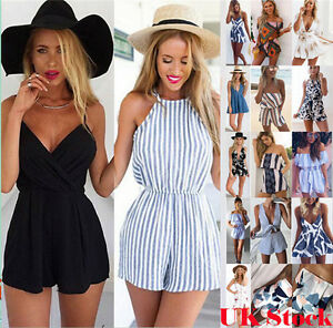 UK-Summer-Womens-Holiday-Mini-Playsuit-Ladies-Jumpsuit-Beach-Shorts-Mini-Dress