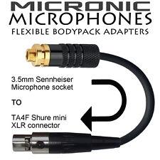 3.5mm LOCKING SENNHEISER SOCKET TO SHURE TA4F FEMALE MINI XLR MICROPHONE ADAPTER