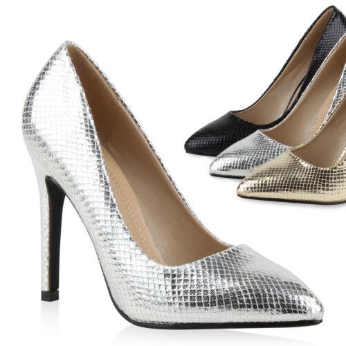 Spitze Damen Abiball Pumps Metallic Prints Stilettos Party Hochzeit 78326 Trendy