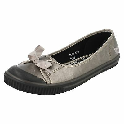 Diva 6859-8 Girls Metalic Pewter Ballerina Style Slip On Pumps R40A