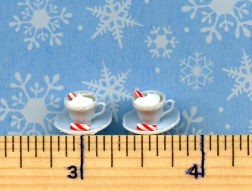 Dollhouse Mini Sz Drink 2 Cups of Hot Cocoa /& Whipped Cream /& Candy Cane Sticks