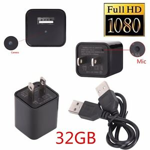32GB 1080P Spy Hide Camera AC Adapter USB Wall Charger Camcorder DV Surveillance
