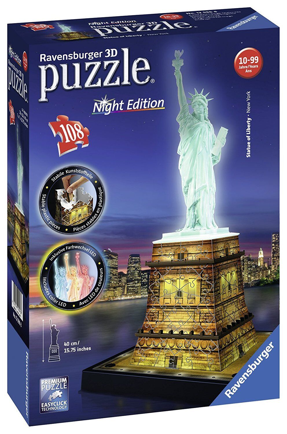 RAVENSBURGER STATUE OF LIBERTY NIGHT EDITION 3D PUZZLE 108 PC - NEW & SEALED