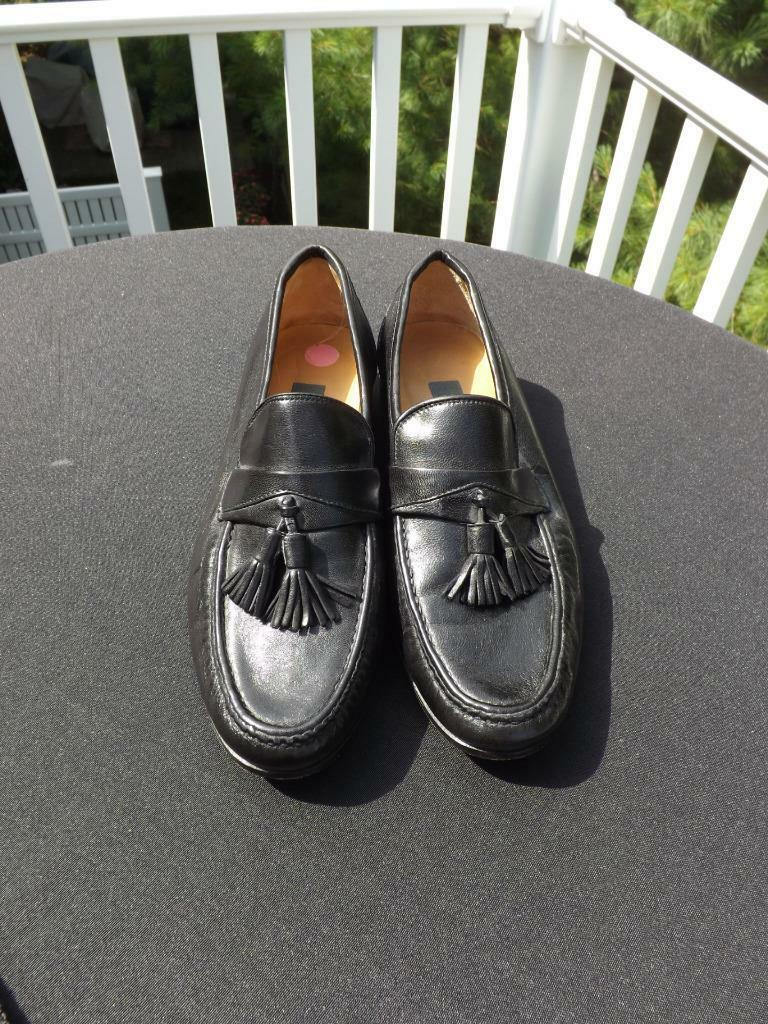 Bally Black Soft Leather Tassel Loafers Size 7 M