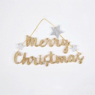 2 X Joyeux Noël Verre Babiole or paillettes arbre pendaison décoration SASS BELLE