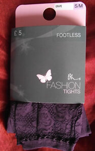 BHS-Footless-Tights-with-Lace-Ankle-Grape-Small-Medium-BNWT-5-on-Pack