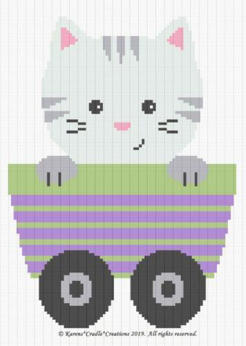 KITTEN in CART Graph//Chart BABY Afghan Pattern Crochet Pattern//Patterns