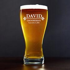 Custom Engraved Personalized 15oz Beer Glass Pilsner Stein Mug Fleur-de-lis