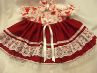 DREAM BABY WHITE RED XMAS TREE PRINT DRESS & HBD NB 0-3 3-6 MONTHS OR REBORN