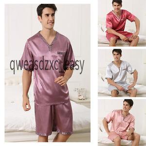 Image is loading Men-Silk-Satin-Pajamas-Nightwear-Pyjama-Set-Homewear- bd3aee7a9