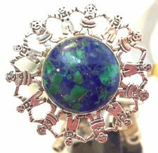 "GFMW Sterling  Azurite ""Children Of The World ""Brooch Great Falls Metal Works"