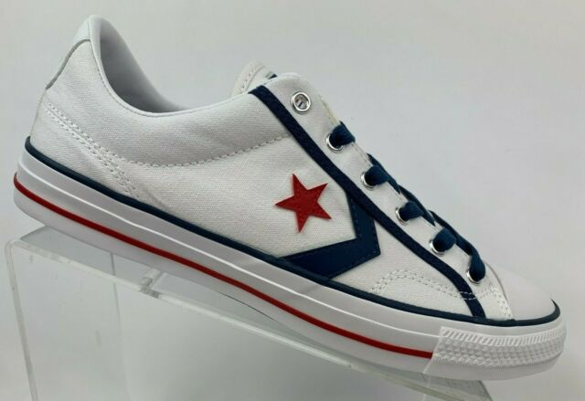 Converse 164724C Star Player OX White/Navy Blue/Gym Red Men's Multiple Size