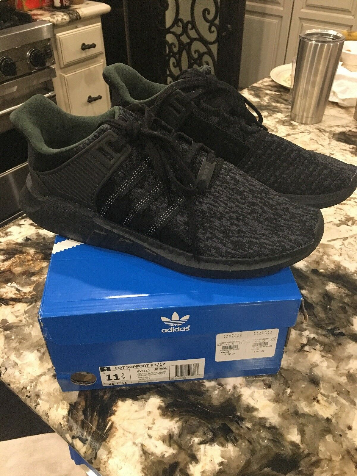 ADIDAS ORIGINAL EQT SUPPORT BOOST PIXELATED KNIT 93 17 BY9512 BLACK GREY WHITE