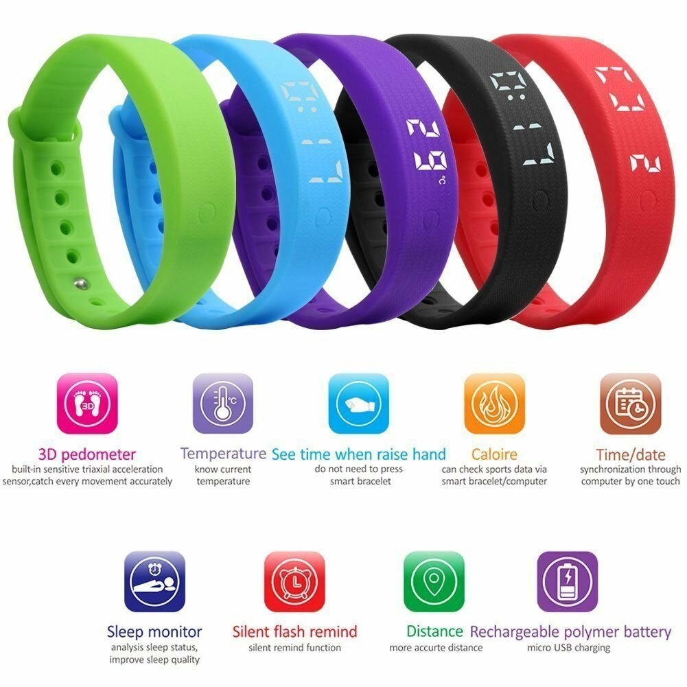 Children Kids Fitbit Style Activity Tracker Pedometers Step