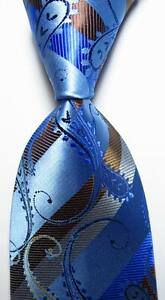 New-Classic-Striped-Paisley-Blue-Brown-JACQUARD-WOVEN-Silk-Men-039-s-Tie-Necktie