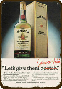 1980 JAMESON IRISH WHISKEY Irish Red Vintage Look DECORATIVE REPLICA METAL SIGN
