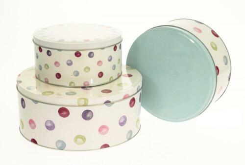 Spotty Dotty Design Set of 3 Round Cake Storage Tin Gift Box