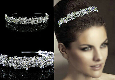 Twinkling Full Crystal Flower Leaf Wedding Bridal Flower Girl Tiara