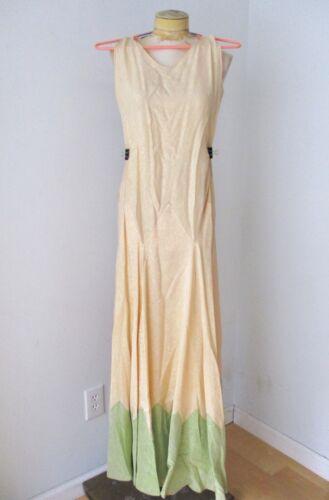 Vtg 20s 30s iridescent rose brocade green beige dr