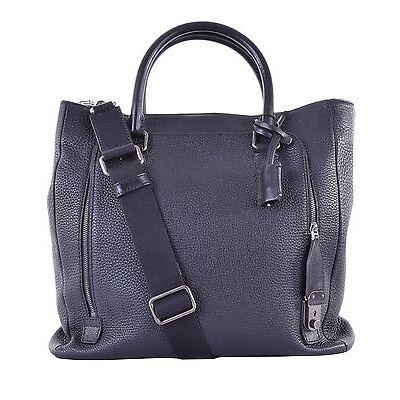 DOLCE & GABBANA Leder Shopper Tasche Weekender mit Logo Schloss Schwarz Bag 0534