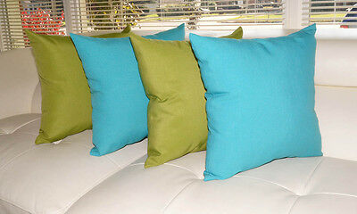 Turquoise and Green Outdoor Pillows, Solid Kiwi Green Throw Pillow - Set of 4