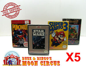 5x-NINTENDO-NES-CIB-GAME-CLEAR-PLASTIC-PROTECTIVE-BOX-PROTECTOR-SLEEVE-CASE
