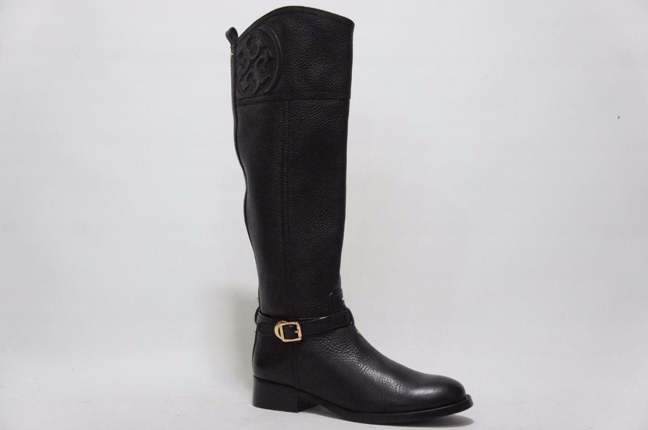 TORY BURCH MARLENE RIDING RIDING RIDING BLACK TUMBLE LEATHER BOOTS SHOES 6.5  495 6811ef
