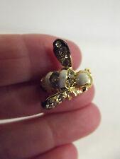 Tiny Bumble Bee Brooch Pin Gold Toned White Black Enamel Rhinestones