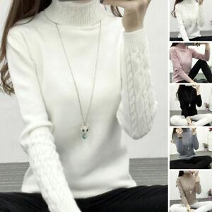 Hiver-pour-Femmes-Etroit-Chaud-Col-Roule-Pull-Tricote-Tops-Pull-Chaud