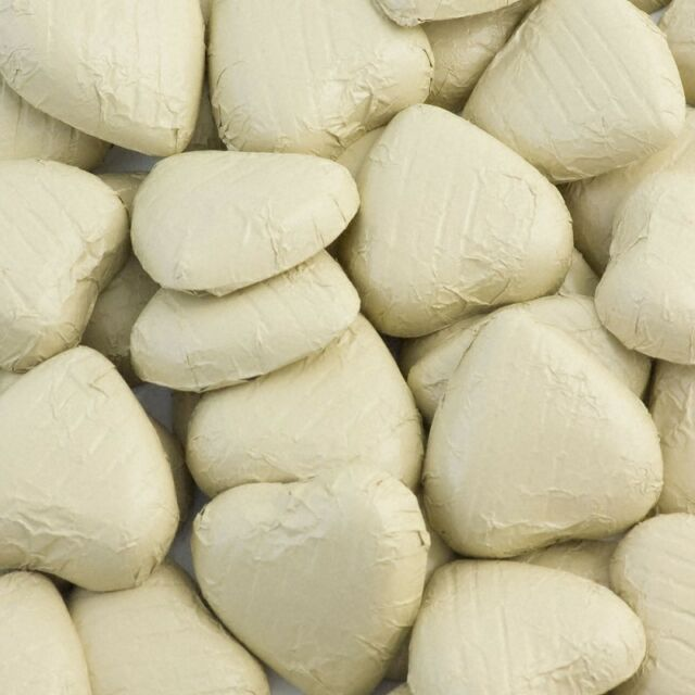 50 Ivory Foil Chocolate Love Hearts Wedding Favours Party Table