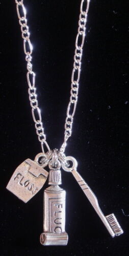 """Details about  /Dentist Necklace 18/"""" Chain Sterliing Silver Plt /& OMS Dental Hygienist Dentistry"""
