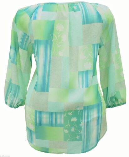 Womens Light Kaftan Tunic Top Green Plus Size 16,18,20,22,24,26 Ladies