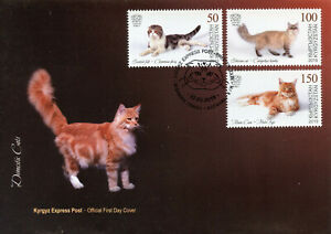 Kirghizistan-KEP-2019-FDC-gatti-domestici-SCOTTISH-FOLD-Maine-Coon-3v-Copertura-FRANCOBOLLI