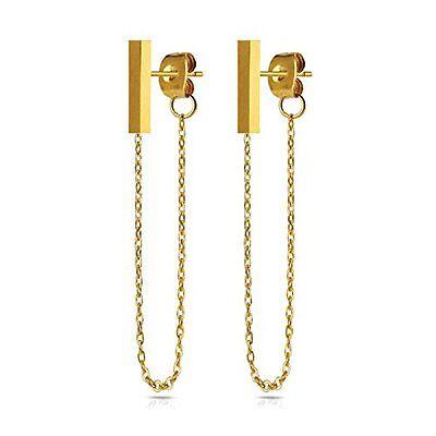 Reliable 20g Clous Chaîne Boucles D'oreilles Moderne Barre Doré Acier Inoxydable Bâton Modern Design Jewelry & Watches