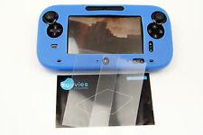 Nintendo Wii U Set 1 x silicone guscio protettivo case BLU + 2 x Display Pellicola Gamepad