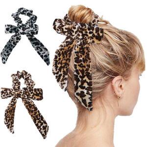 5X Women Girls Leopard Ribbon Elastic Bracelets Knot Hair Ponytail Holder bands