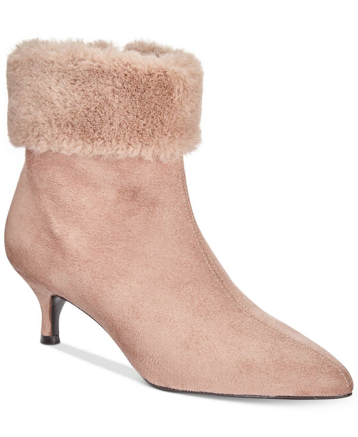 Impo Esra Faux-Fur Cuff Pointed-Toe Booties SUEDE Stretch shoes 7 M -BROWN-