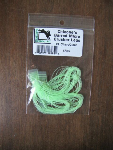 Hareline Chicone/'s Barred Regular Crusher Legs Purple//Clear Fly Tying