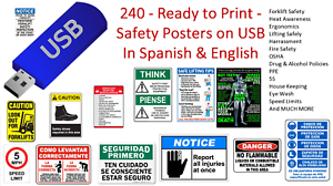 240  Ready to Print  Warehouse Safety Posters  on USB DRIVE   English /& Spanish