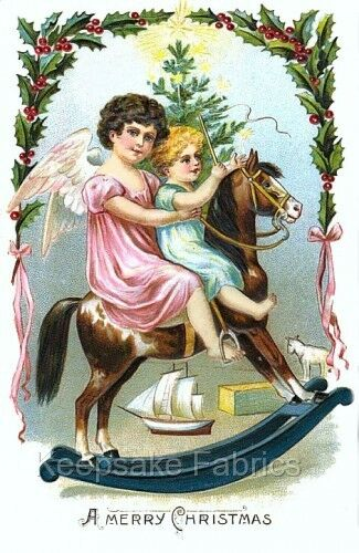 Christmas Angels Rocking Horse Quilt Block Multi Sizes FrEE ShiPPinG WoRld WiDE