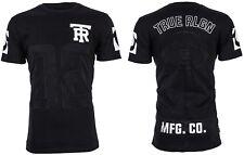 TRUE RELIGION Mens T-Shirt MESH FOOTBALL with EMBROIDERED BUDDHA Black $99 NWT