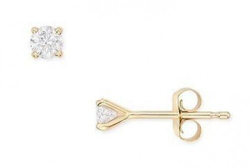 1.5mm CTW ROUND DIAMOND STUD EARRINGS~14K YELLOW GOLD~ FREE SHIP ~ GIFT BOX