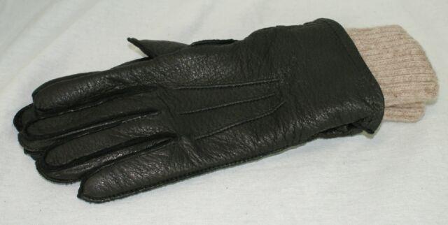 Womens Ladies Brown Medium Gloves Mittens Deerskin Leather Wool Nylon Liner K2