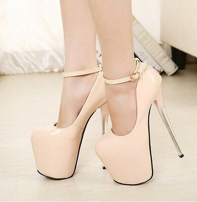 Womens Sexy Super High Heel Ankle Strap Platform Pumps Court Party Shoes